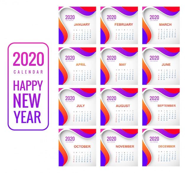 Kreativer bunter hintergrund des kalenders 2020 des neuen jahres Kostenlosen Vektoren