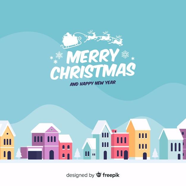 Kreativer flacher weihnachtsstadthintergrund Kostenlosen Vektoren