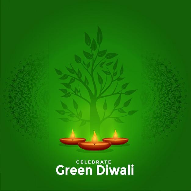 Kreativer grußhintergrund reizenden grünen glücklichen diwali Kostenlosen Vektoren