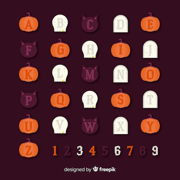 Kreativer halloween-alphabetentwurf Kostenlosen Vektoren