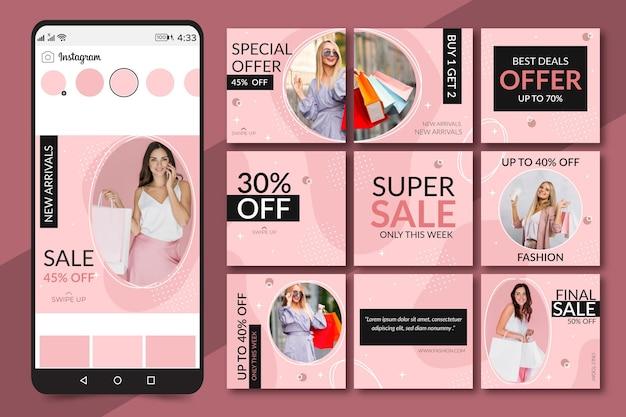 Kreativer instagram-puzzle-feed mit 9 vorlagen Premium Vektoren