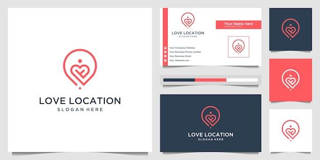 Kreativer liebesortlogo-konzept-linienkunststil. kombinieren sie herz-, stift-, karten- und personenlogodesign und visitenkarte Premium Vektoren