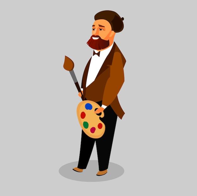 Kreativer mann mit bart in der barett-zeichentrickfilm-figur Premium Vektoren