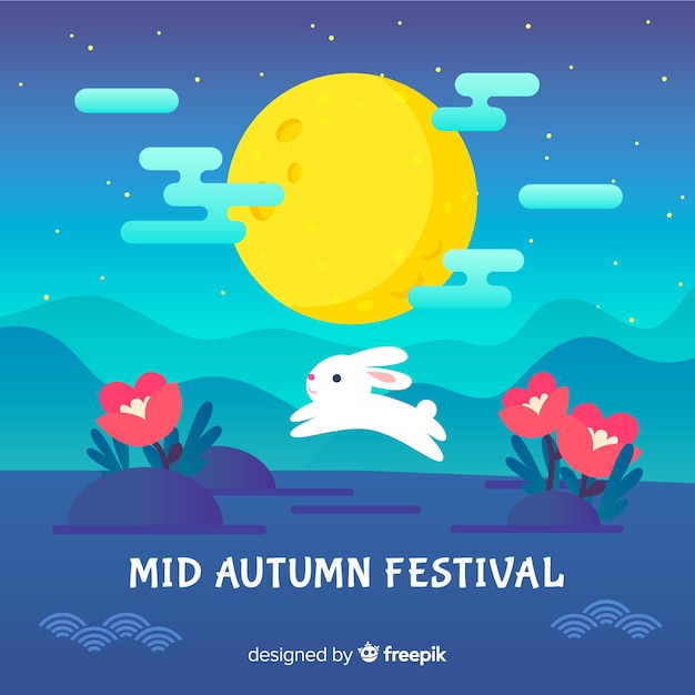 Kreativer mittlerer herbstfestivalhintergrund Kostenlosen Vektoren
