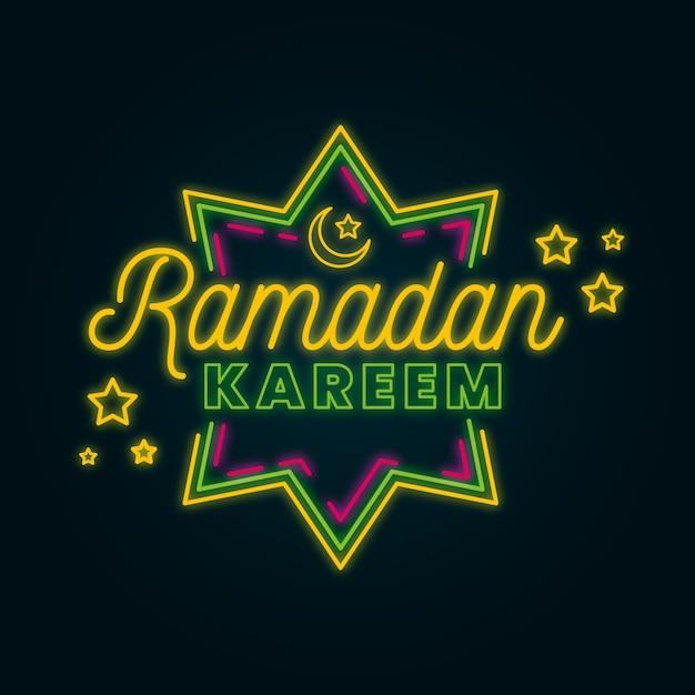 Kreativer ramadan-schriftzug auf neonstil Kostenlosen Vektoren