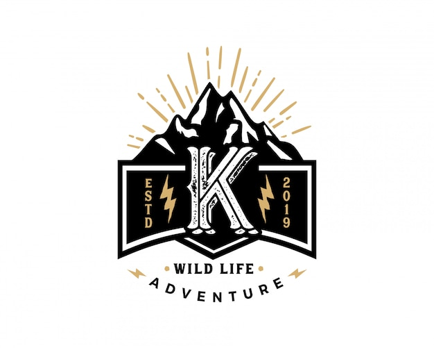 Kreativer retro- weinlesehippie des anfangsbuchstaben k und schmutzvektor-logo entwerfen Premium Vektoren