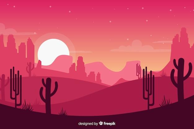 Kreativer rosa wüstenlandschaftshintergrund Kostenlosen Vektoren