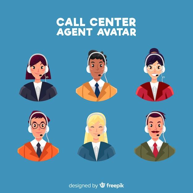 Kreativer satz call-center-avataras Kostenlosen Vektoren