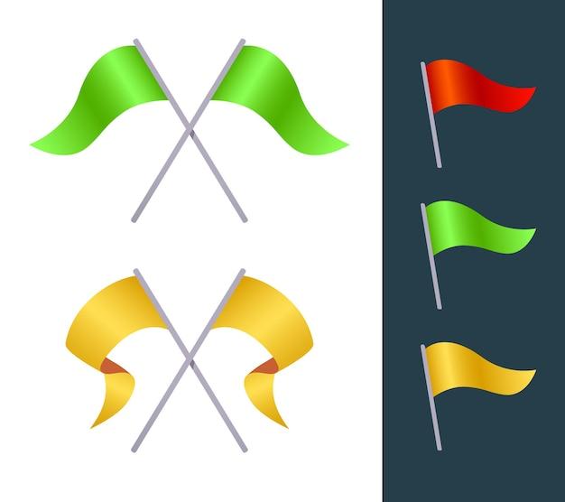 Kreativer satz der illustration der variation der flagge auf weißem und schwarzem hintergrund Premium Vektoren