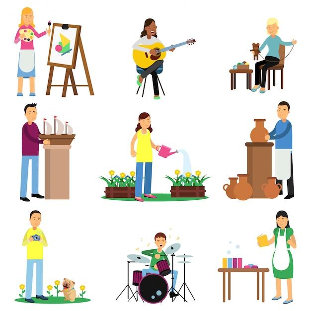 Kreativer satz von erwachsenen menschen und ihren hobbys. kochen, malen, gitarre und bass spielen, sticken, stricken, nähen, skulptieren. eben Premium Vektoren