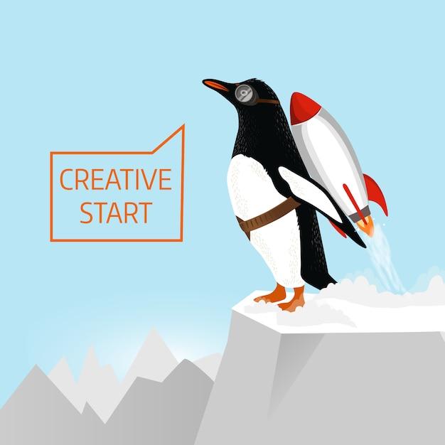 Kreativer start und kreatives ideenkonzept. pinguin beginnt mit hilfe von rocket zu starten. hand gezeichnete illustration Premium Vektoren