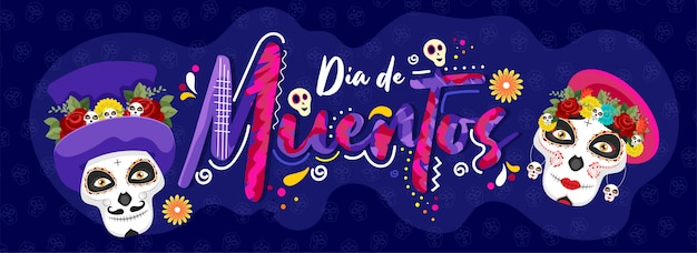 Kreativer text von dia de muertos mit den zuckerschädeln auf blauem schädelmuster für tag der toten. header oder banner. Premium Vektoren