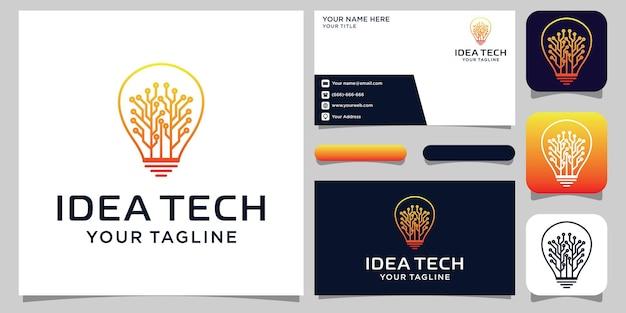 Kreatives bulb tech-logo und visitenkarten-design. idee kreative glühbirne mit technologiekonzept. idee der digitalen logo-technologie der glühbirne Premium Vektoren