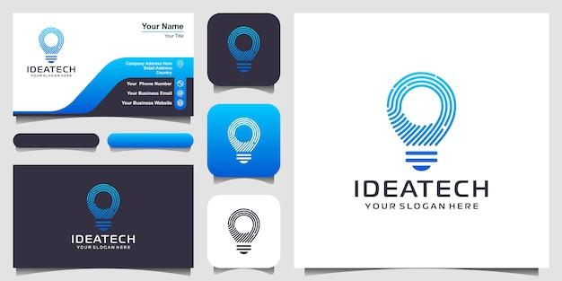 Kreatives bulb tech-logo und visitenkarten-design. Premium Vektoren