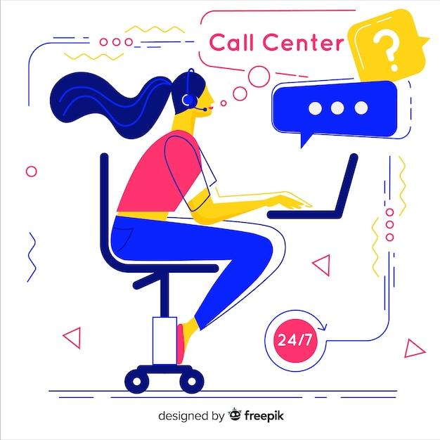 Kreatives call-center-design in flacher art Kostenlosen Vektoren