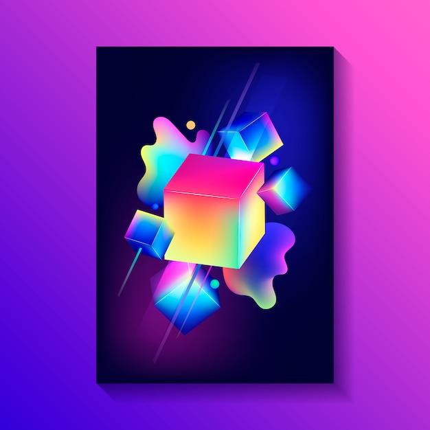 Kreatives dekoratives plakat mit zusammensetzung von würfeln 3d und von anderen formen. Premium Vektoren
