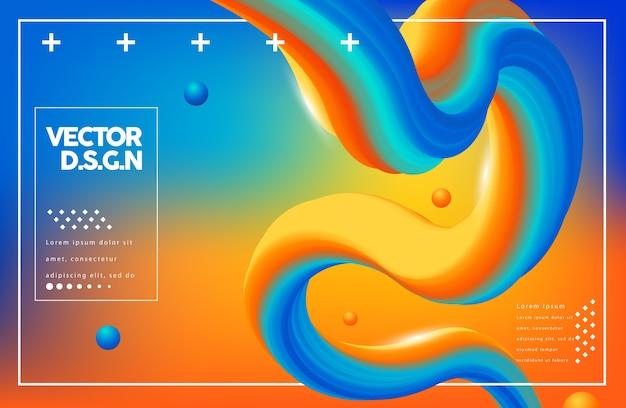 Kreatives design 3d fließen form Premium Vektoren