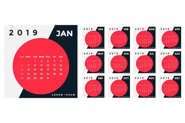 Kreatives design für 2019 kalendervorlagen Kostenlosen Vektoren
