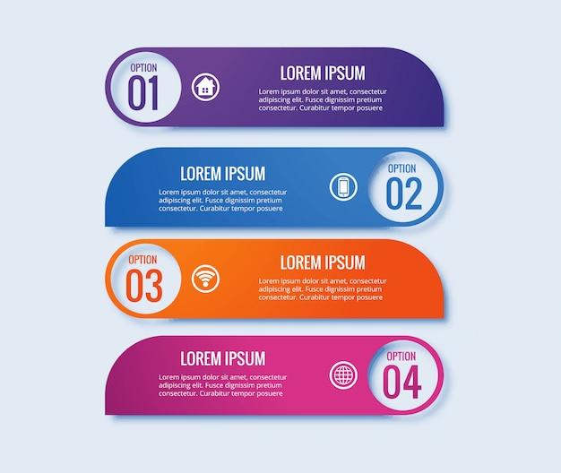 Kreatives fahnendesign des infographic-schrittkonzeptes Kostenlosen Vektoren