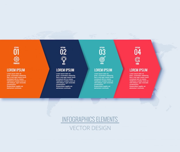 Kreatives fahnendesign des infographic-schrittpfeilkonzeptes Kostenlosen Vektoren