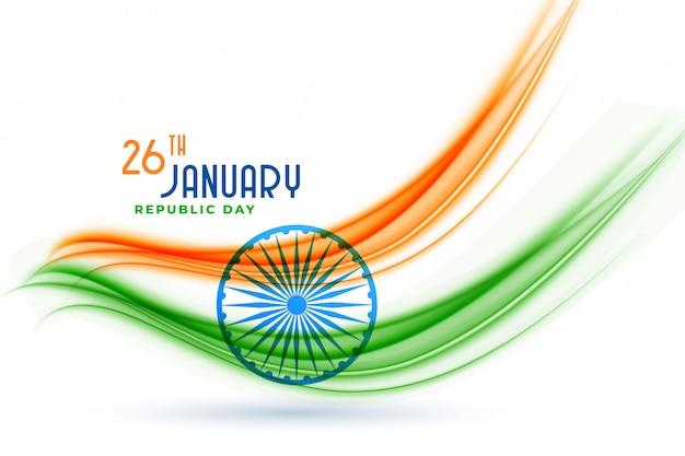 Kreatives flaggendesign der glücklichen indischen republik-tages Kostenlosen Vektoren