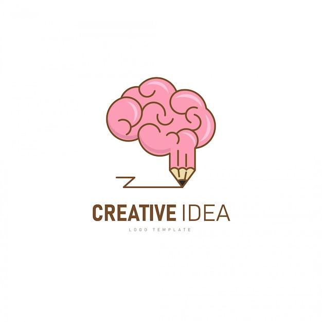 Kreatives gehirn-logo. gehirn- und bleistiftform als kreative idee. Premium Vektoren