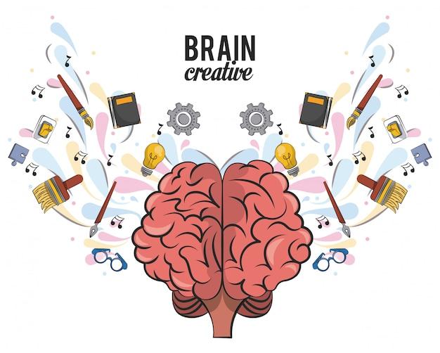 Kreatives gehirn mit schulbedarf Premium Vektoren