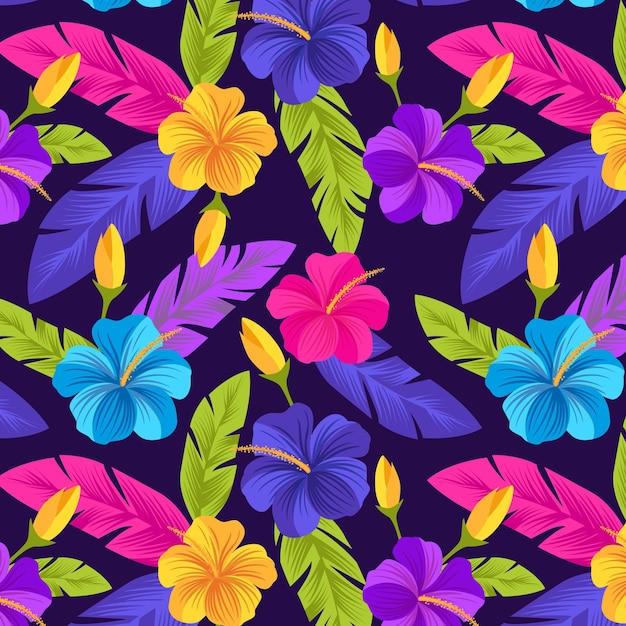 Kreatives gemaltes tropisches blumenmuster Kostenlosen Vektoren