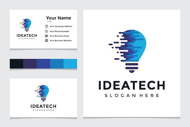 Kreatives glühbirnen-technologie-logo und visitenkarten-design. kreative glühbirnenideen mit technologiekonzepten. Premium Vektoren