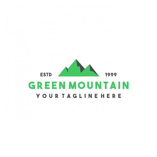 Kreatives grünes gebirgslogodesign Premium Vektoren