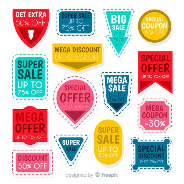 Kreatives gutscheinverkaufs-aufkleberpaket Kostenlosen Vektoren