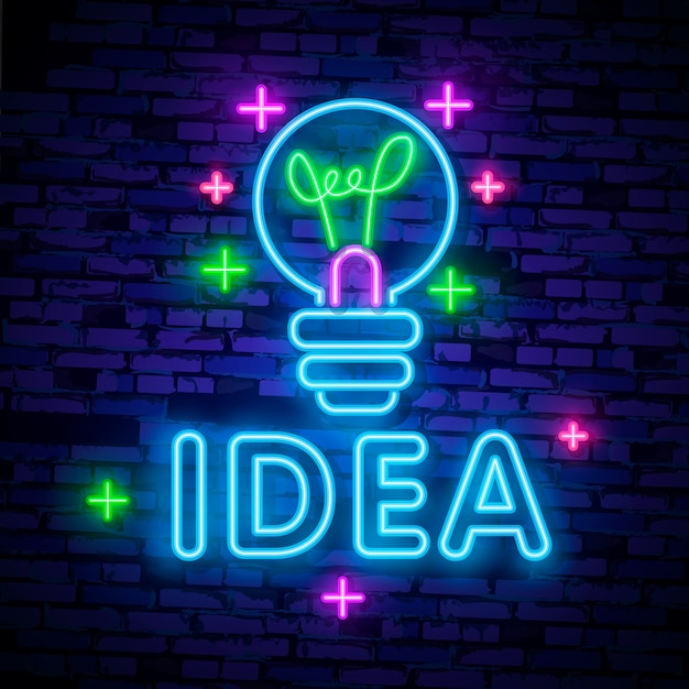 Kreatives idea neon-logo Premium Vektoren