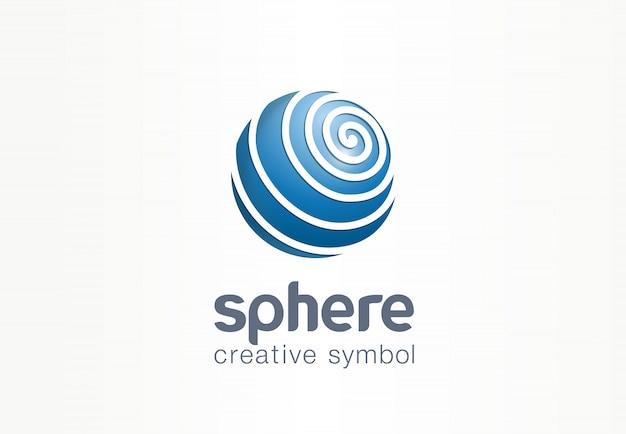 Kreatives internet-symbolkonzept der kugel. abstraktes web-geschäftslogo des globe-kommunikationsnetzwerks. digitale erddaten, symbol für social media-technologie. Premium Vektoren