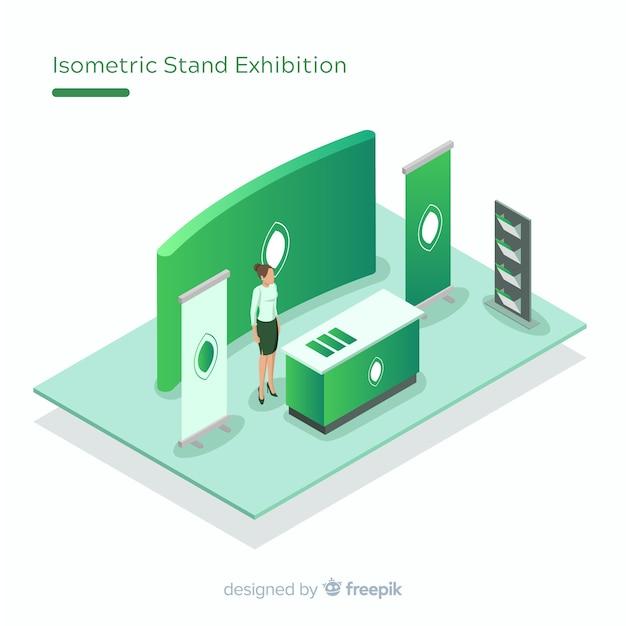 Kreatives isometrisches standausstellungsdesign Kostenlosen Vektoren