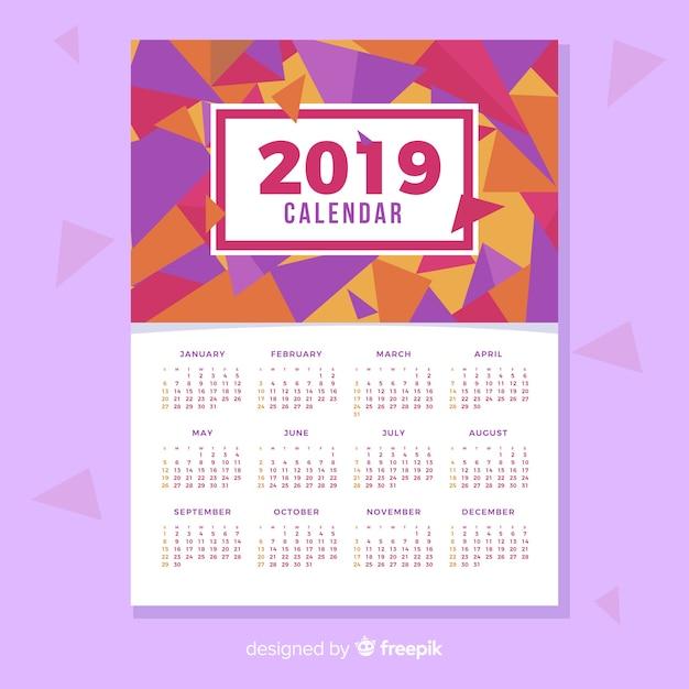 Kreatives kalenderdesign 2019 Kostenlosen Vektoren