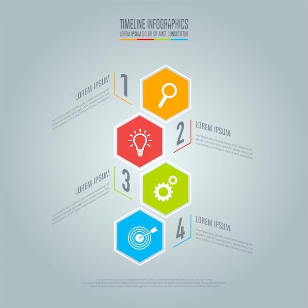 Kreatives konzept für infografik. timeline business-konzept mit 4 optionen, schritten oder prozessen. Premium Vektoren