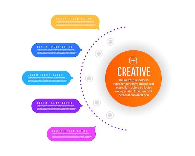 Kreatives konzept von verlaufsdiagrammelementen, diagrammen mit schritten, optionen, teilen oder prozessen. Premium Vektoren