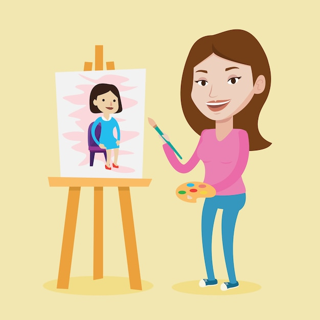 Kreatives künstlerinnenmalerei-porträt. Premium Vektoren