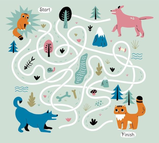 Kreatives labyrinth für kinder illustriert Kostenlosen Vektoren