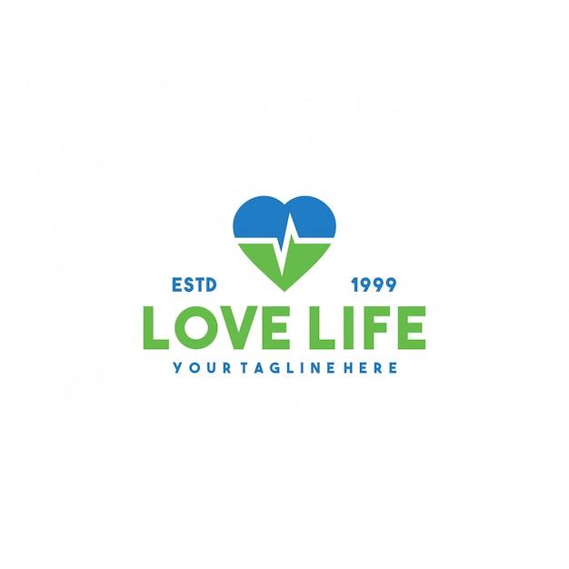 Kreatives liebesleben premium logo design Premium Vektoren