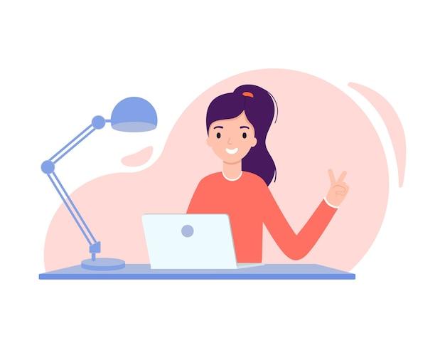Kreatives mädchen, das an einem laptop arbeitet. illustration im flachen designstil. Premium Vektoren