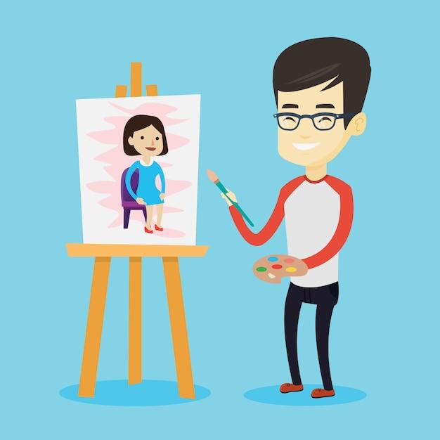 Kreatives männliches künstlermalereiporträt. Premium Vektoren