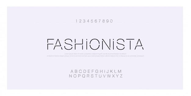 Kreatives modernes alphabet des minimalen modegusses Premium Vektoren