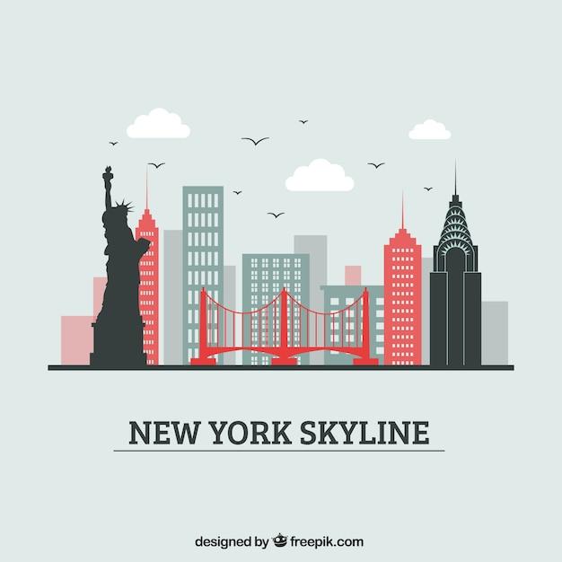 Kreatives skylinedesign von new york Kostenlosen Vektoren