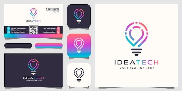 Kreatives smart lampenlampenlogo. Premium Vektoren
