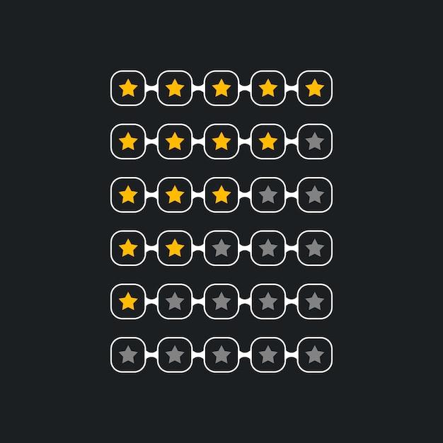 Kreatives sternbewertungssymbol für schwarzes thema Kostenlosen Vektoren