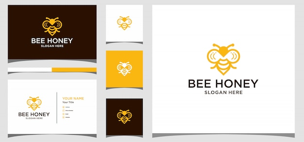 Kreatives symbolsymbol des bienenhonigs. logo-design, symbol und visitenkarte premium vector Premium Vektoren