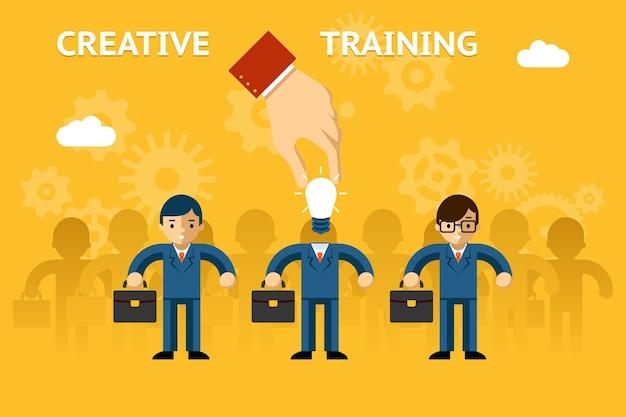 Kreatives training. wirtschaftspädagogik, ideenkreativität Kostenlosen Vektoren