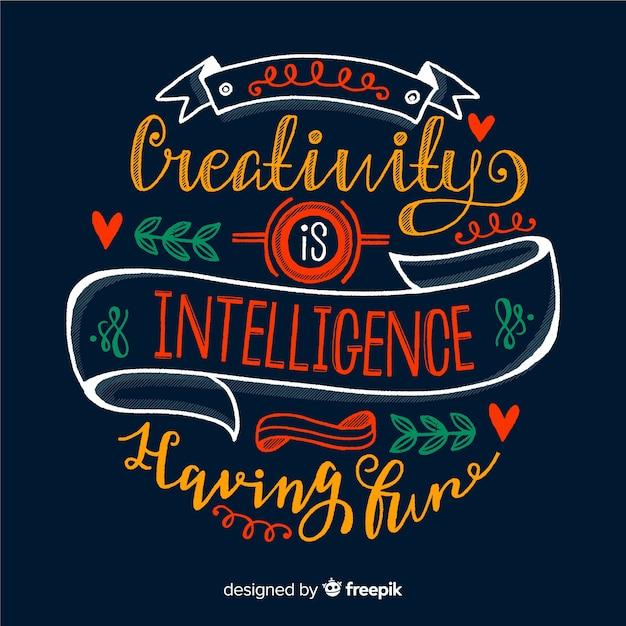 Kreativitätszitat-hintergrundbeschriftungsart Kostenlosen Vektoren