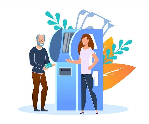 Kredit- oder debitkartennachschub terminal flat. ein älterer mann füllt kreditkarte am bank-terminal auf. Premium Vektoren